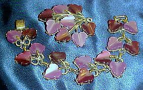 Demi Parure Coro lavender / purple bracelet and pin