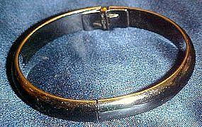 Whiting and Davis hinged silver bangle bracelet