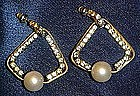 Vintage rhinestone and pearl pierced earrings
