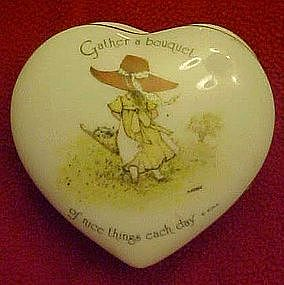 Holly Hobbie porcelain heart  shape trinket box, 1974