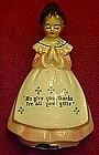 Enesco pink  Prayer lady salt ,pepper shaker, single