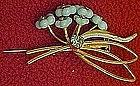 Vintage Austria pin, blue glass flowers, gold tone.