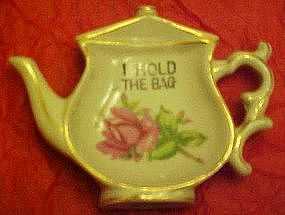 Vintage tea bag holder, rose decoration