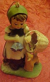 Hummel style plastic figurine ornament, girl with bells