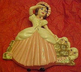 Little Bo Peep hand painted  ceramic wall decor