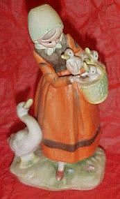 Lefton goose girl figurine, bisque