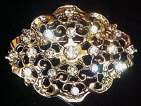 Sparkling rhinestone filigree pin