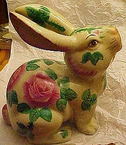 Large porcelain garden rabbit with roses decoration