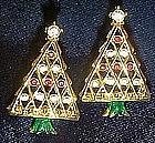 Rhinestone Christmas tree earrings, post, pierced