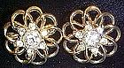 Vintage goldtone earrings with crystal rhinestones
