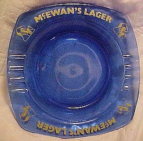 Vintage McEwan's Lager cobalt blue ashtray