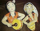 Vintage chalk wall hangers, American Indian couple