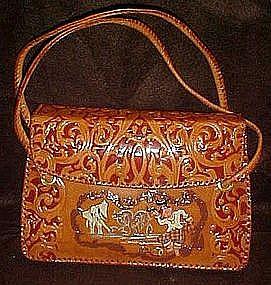 Vintage handmade leather purse, Mandalay, Burma