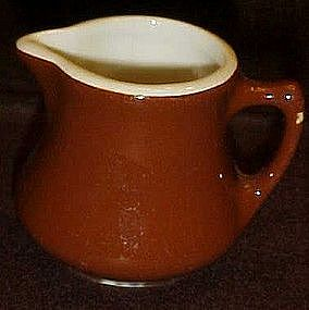 Hall USA china, small brown restaurant creamer