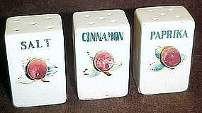 Vintage ceramic spice jars, with apple decoration