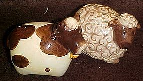 Ceramic sheep and cow figural salt and pepper shakers