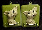 Vintage plastic kitty  wall pockets with hooks
