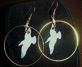 Enamel on copper seagull earrings, Hoop style pierced