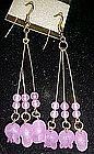 Pretty fuschia  beads dangle earrings, pierced