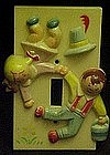 Vintage plastic Jack and Jill light switch cover