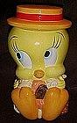 Tweety bird, straw hat cookie jar, Looney Tunes
