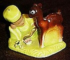 Miniature figurine of chinese boy and deer