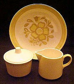 Damsel pattern, vegetable bowl, creamer /  sugar, Royal