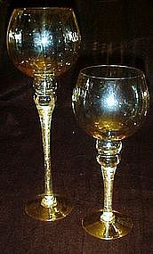 Pair of tall honey crystal candle lights