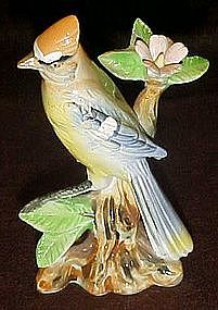 Vintage Japan blue jay, ceramic bird figurine