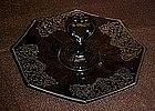 Black amethyst, heart handle server, silver overlay