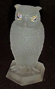 White frosted satin owl figurine aurora rhinestone eyes
