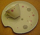 Fifties china snack sets,white pink & grey set for four