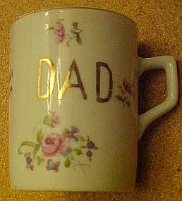 Vintage Lefton china Dad cup with roses decoration