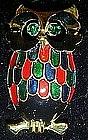 Colorful enamel owl pin with rhinestone eyes