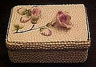 Fred Roberts  porcelain  vanity box with applied roses