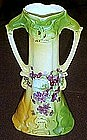 Old hand painted German porcelain vase with violets