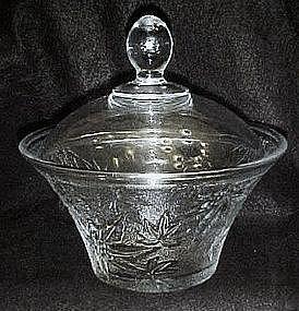 Pressed pattern glass covered dish, maple or marijuana