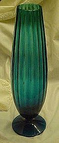 Tall teal blue ribbed optic glass vase
