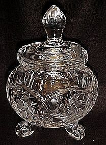 Polished cut glass honey pot, buzz star