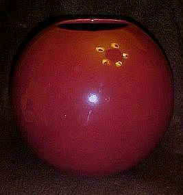 Large USA burgundy round ball vase Haeger?