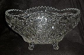 Lead crystal fruit bowl with floral pattern and legs