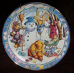 Franklin Mint Teddy Bear Winter Wonderland plate