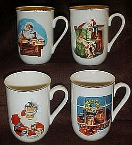 Set of Norman Rockwell Christmas Santa mugs