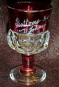 Ruby flashed kings crown souvenir glass 1950