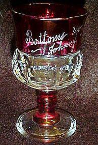 Ruby flashed kings crown souvenir glass 1950