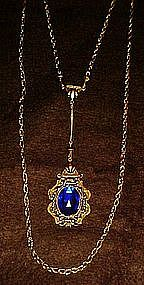 Vintage style sapphire blue pendant with double chain
