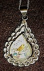 VIntage sterling silver abalone pendant with h/p bird