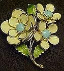Enamel blue and white flower pin
