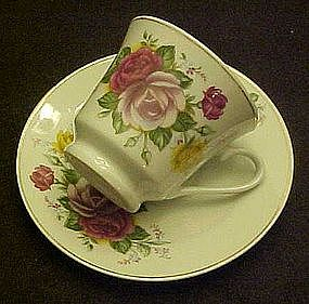 Roses decorated cup and saucer set