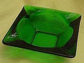 "Anchor Hocking forest green 3 1/2"" square ashtray"